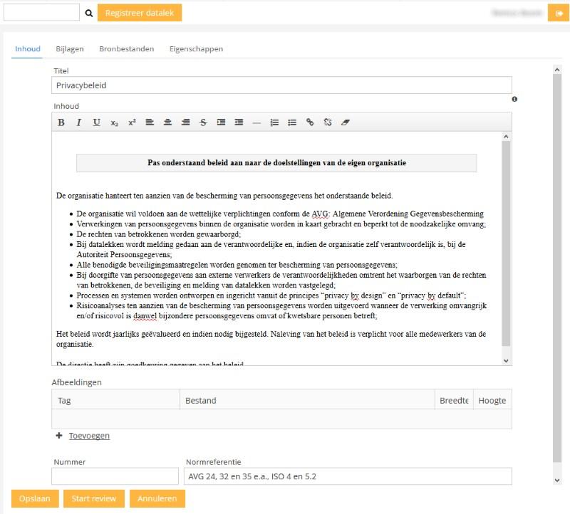 Privacybeleid in de editor - voorbeeld in Base27-AVG. De editor werkt inline zodat gemakkelijk documenten te wijzigen zijn.