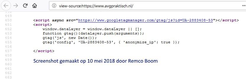 Screenshot broncode van Google Analytics met IP anonimisatie